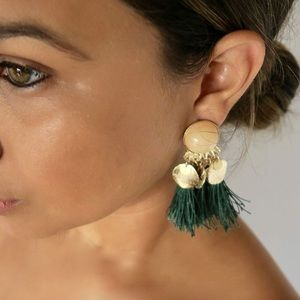 green tassel statement earrings